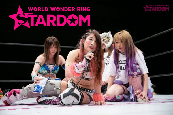 Jungle Kyona speaks with Stars behind her at Stardom Nagoya Rainbow Fight.