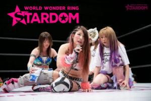 Jungle Kyona speaks with Stars behind her at Stardom Nagoya Rainbow Fight.